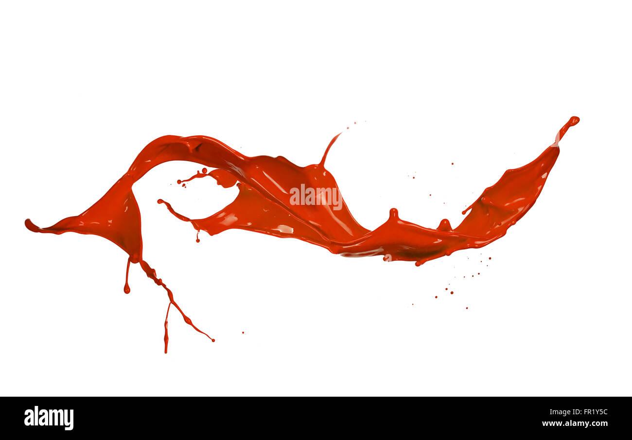 Red paint splash, isolated on white background - Stock Image