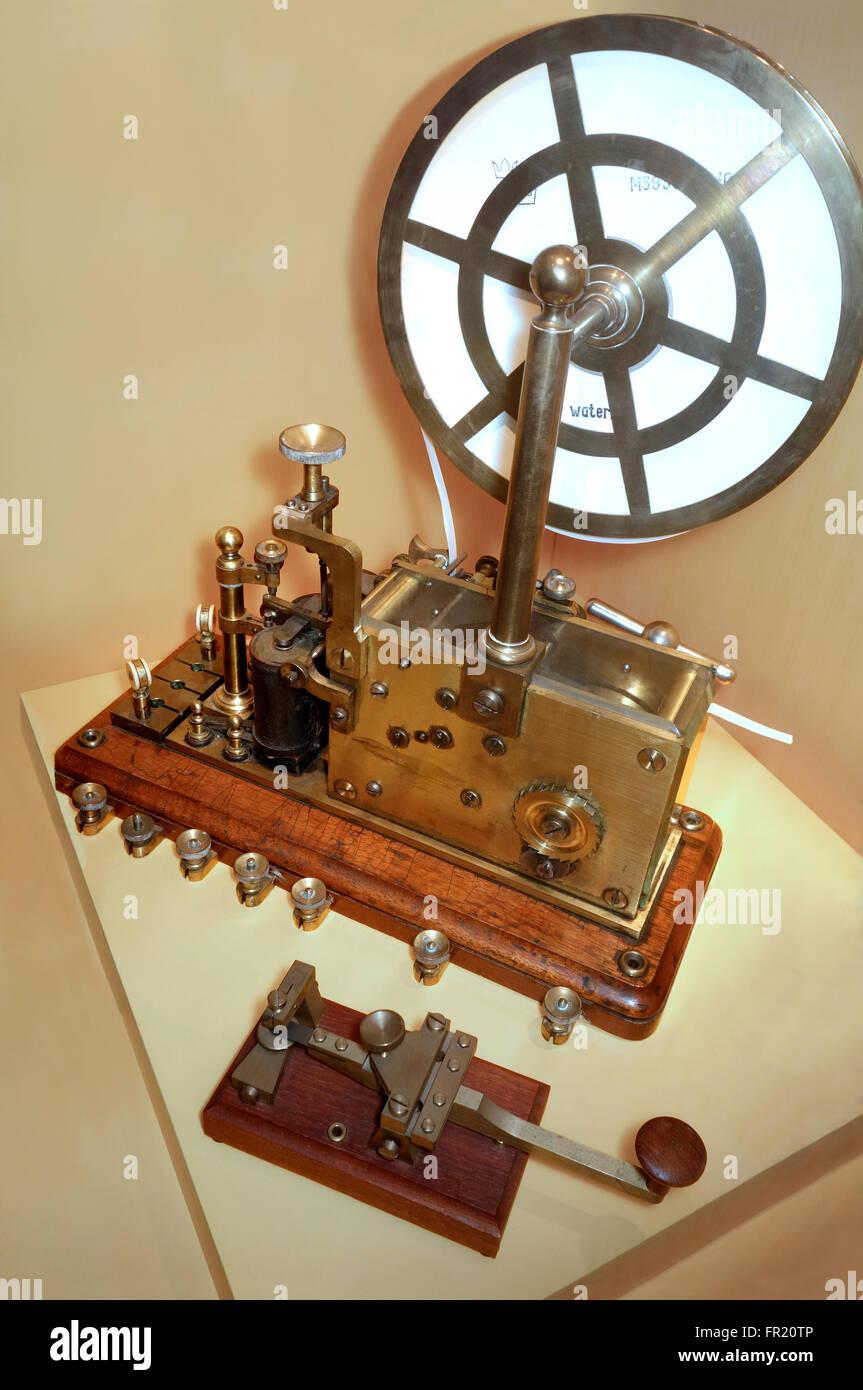 Morse Telegraph Machine. Sender and receiver. - Stock Image
