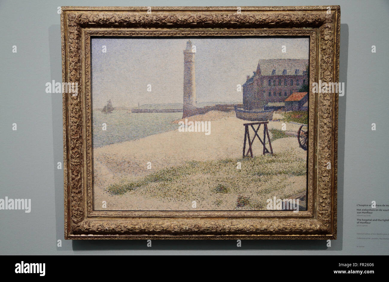 """The Hospital and the lighthouse of Honfleur"" by Georges Seurat in the Kröller-Müller Museum, Otterlo, Netherlands. Stock Photo"