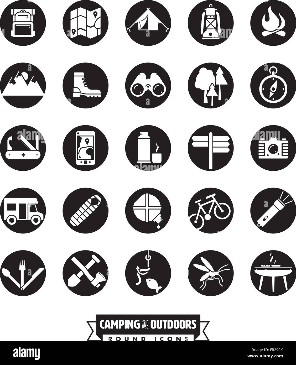 camping, hiking and outdoor pursuit vector round icon ...