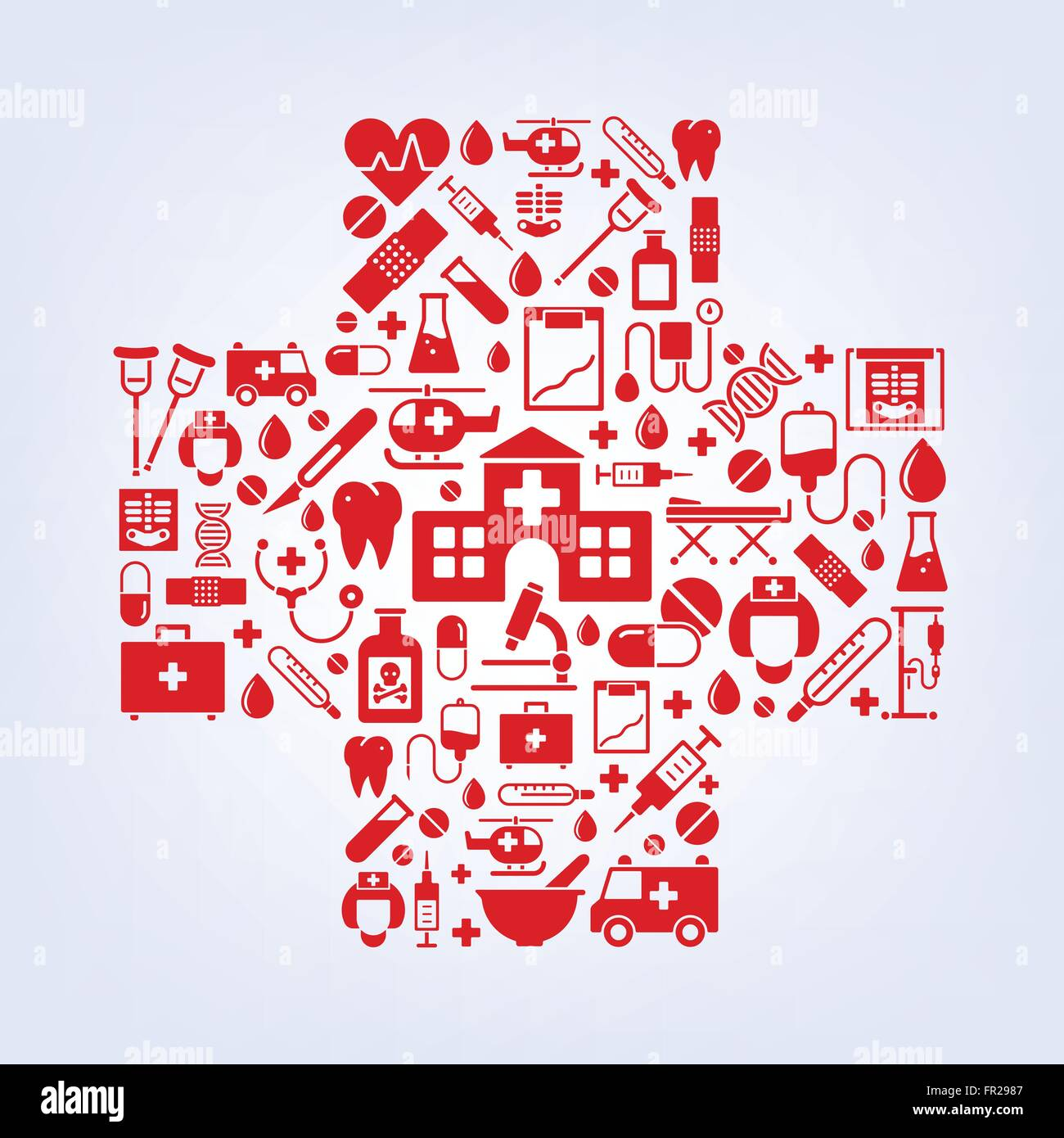 variety of medical and health care symbols arranged in cross shape - Stock Vector