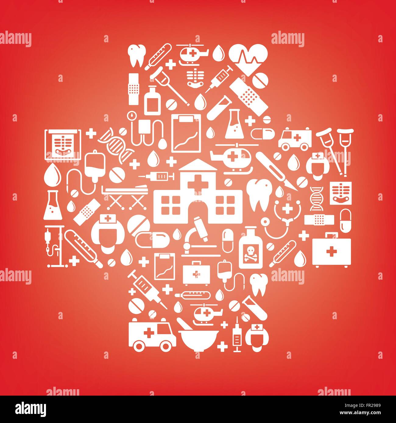 Medical and health care symbols arranged in cross shape, white on red background - Stock Vector