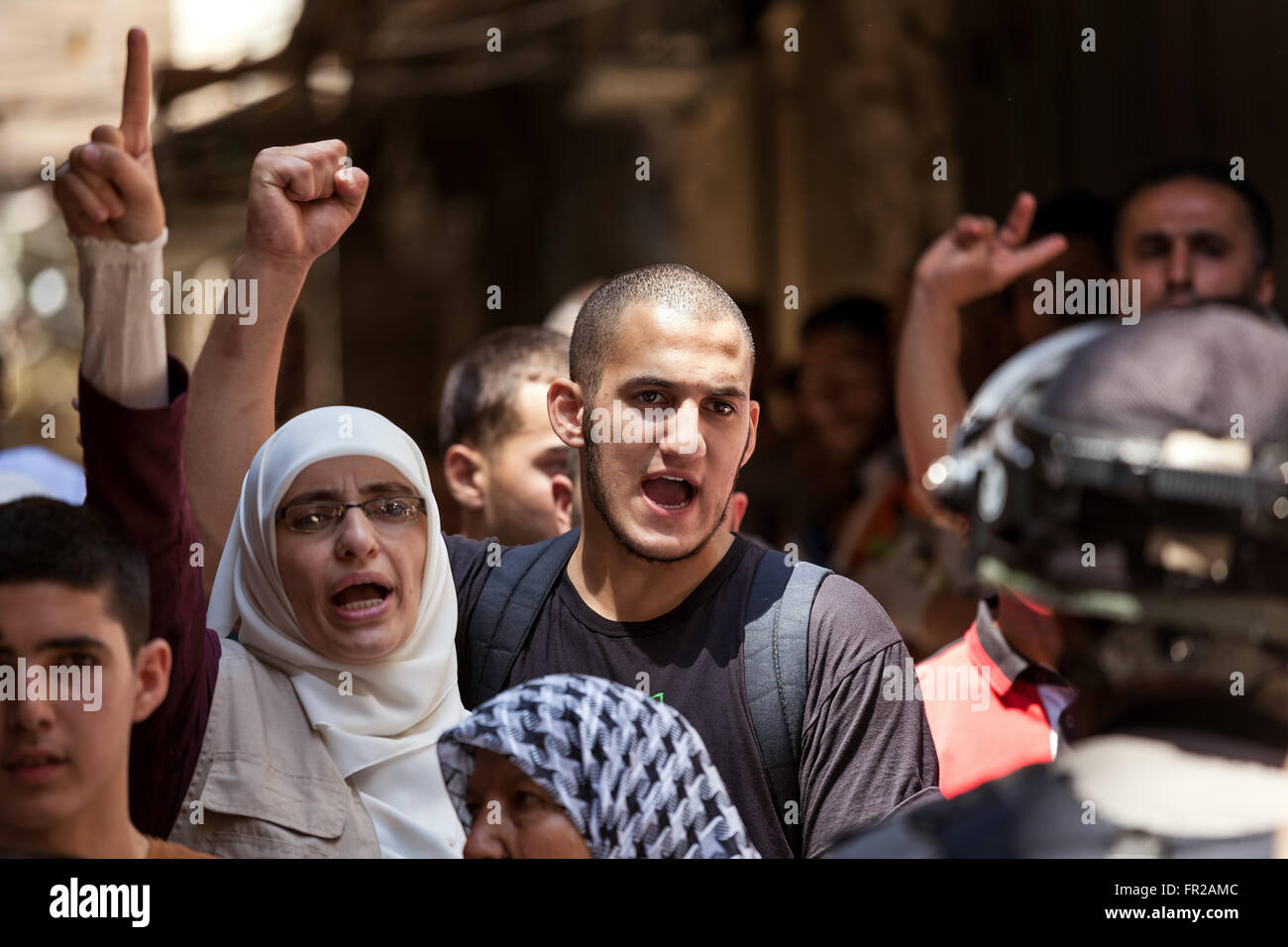 Palestinians in Old City of Jerusalem protest against ascent of religious jews to Temple Mount. - Stock Image