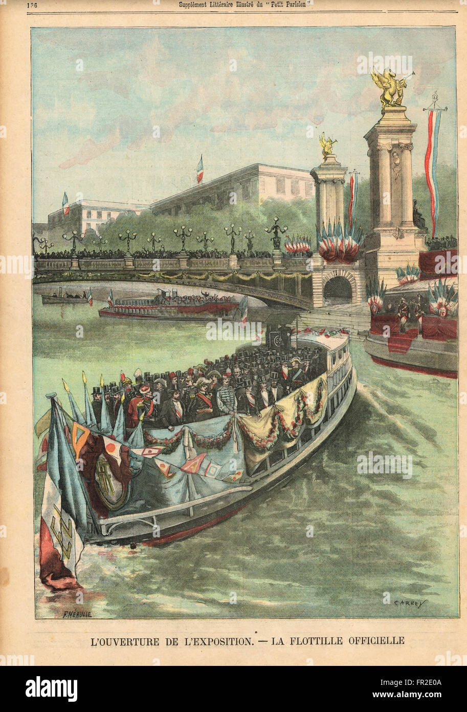 Flotilla of the officials at the opening of the Paris Exhibition 1900 - Stock Image