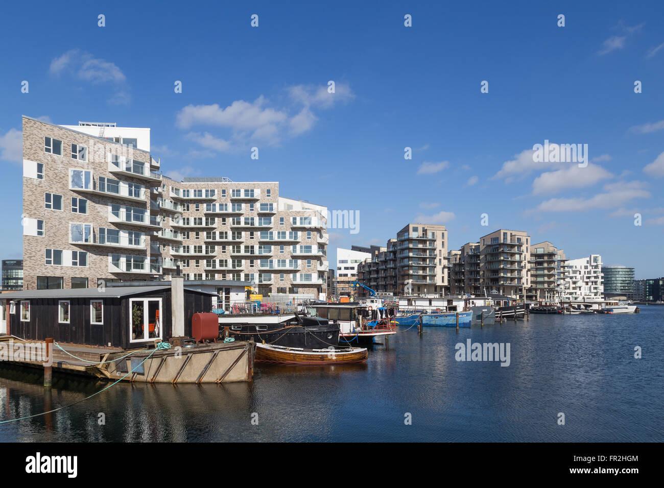 Copenhagen, Denmark - March 17, 2016: Newly built modern appartments on