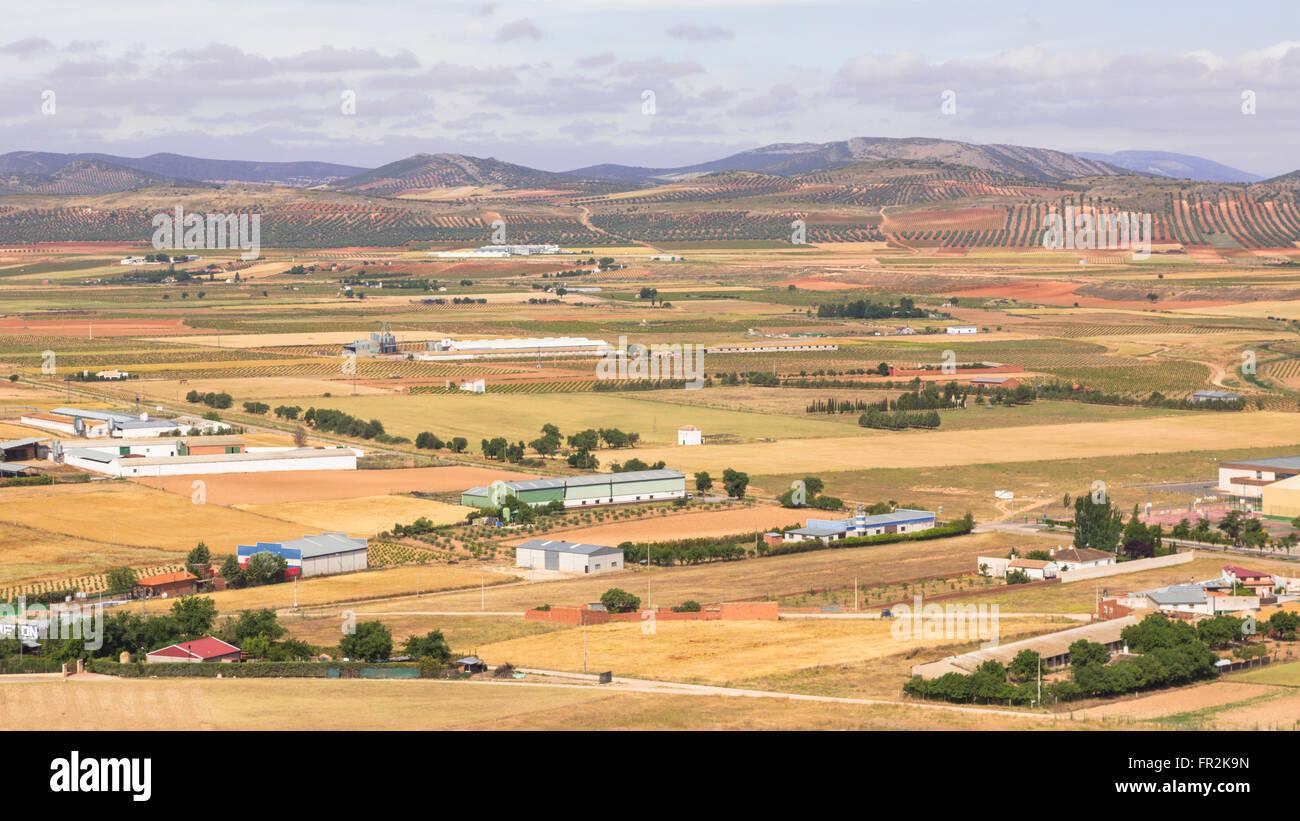 near Consuegra, Toledo Province, Castilla-La Mancha, Spain. Farmland. - Stock Image
