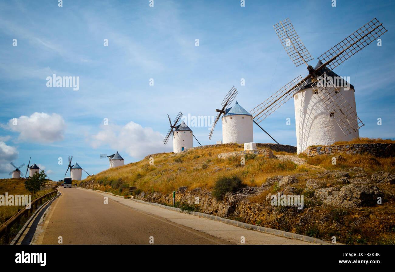 Consuegra, Toledo Province, Castilla-La Mancha, Spain.  Windmills. - Stock Image