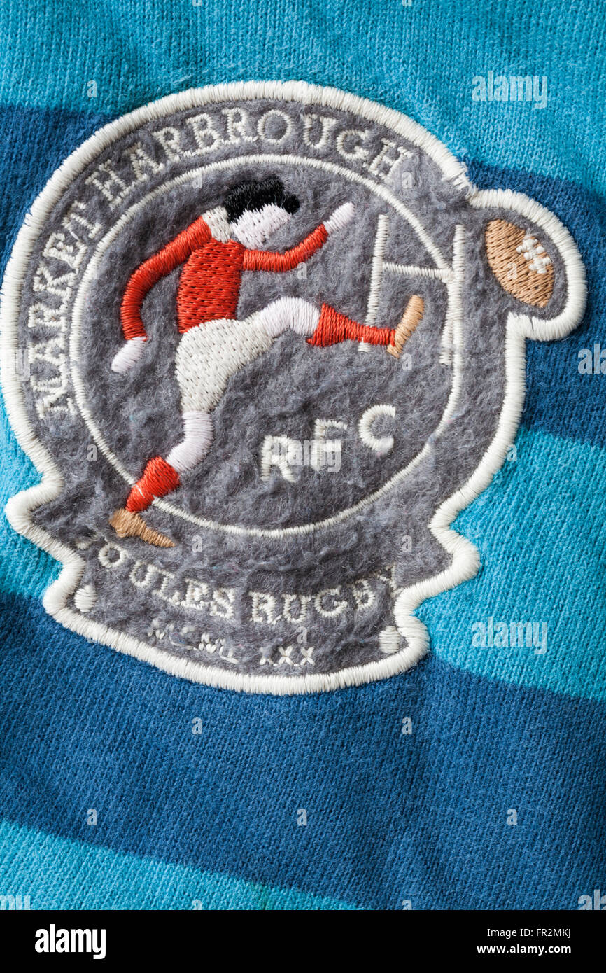 Market Harborough Joules Rugby RFC badge on front of boy's Joules rugby shirt - Stock Image