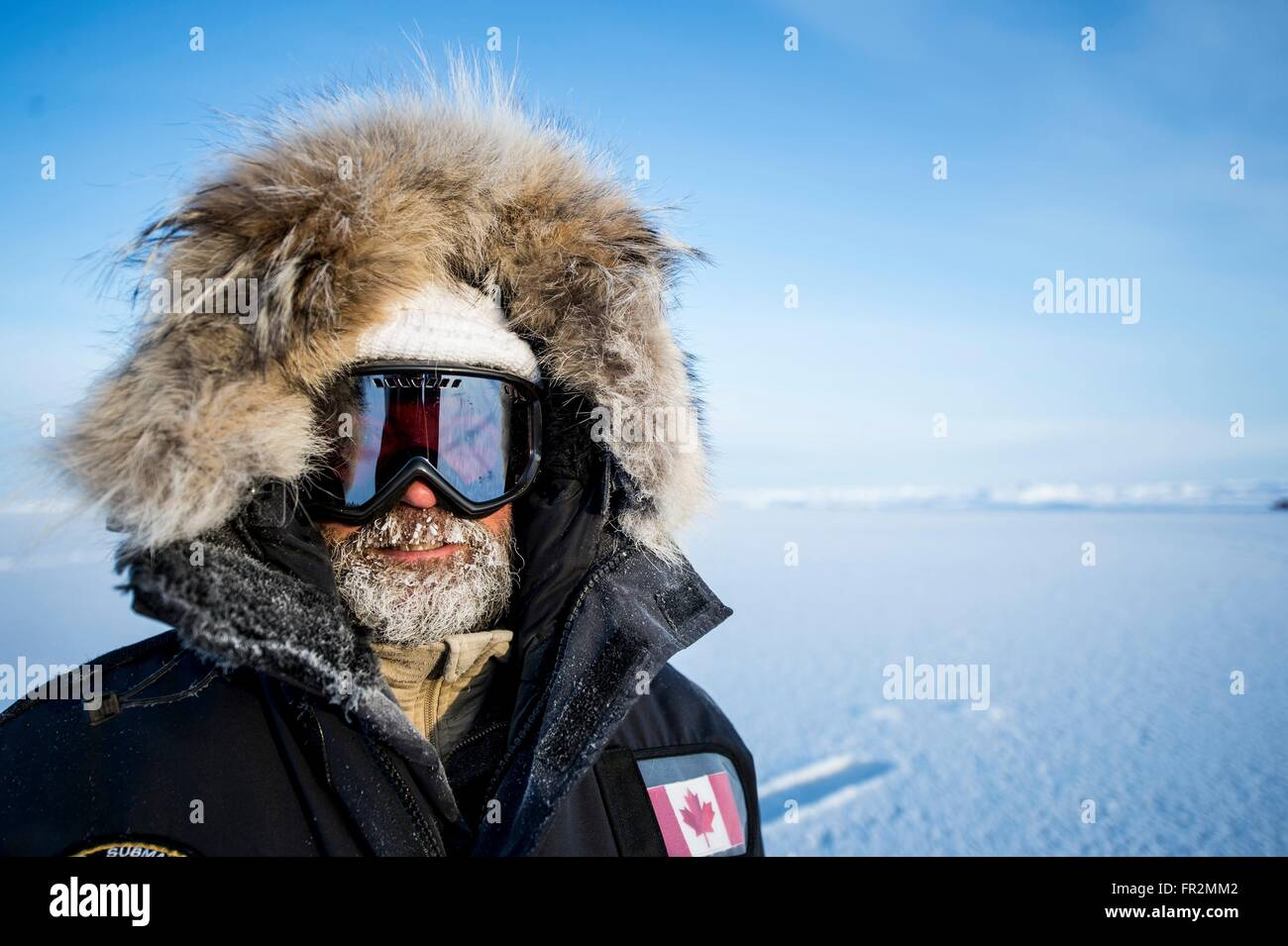 A Member Of The Canadian Research Team Bundled Up In Extreme Cold Clothing At The Multi National Ice Camp Sargo Build For Icex 2016 Training Exercise March