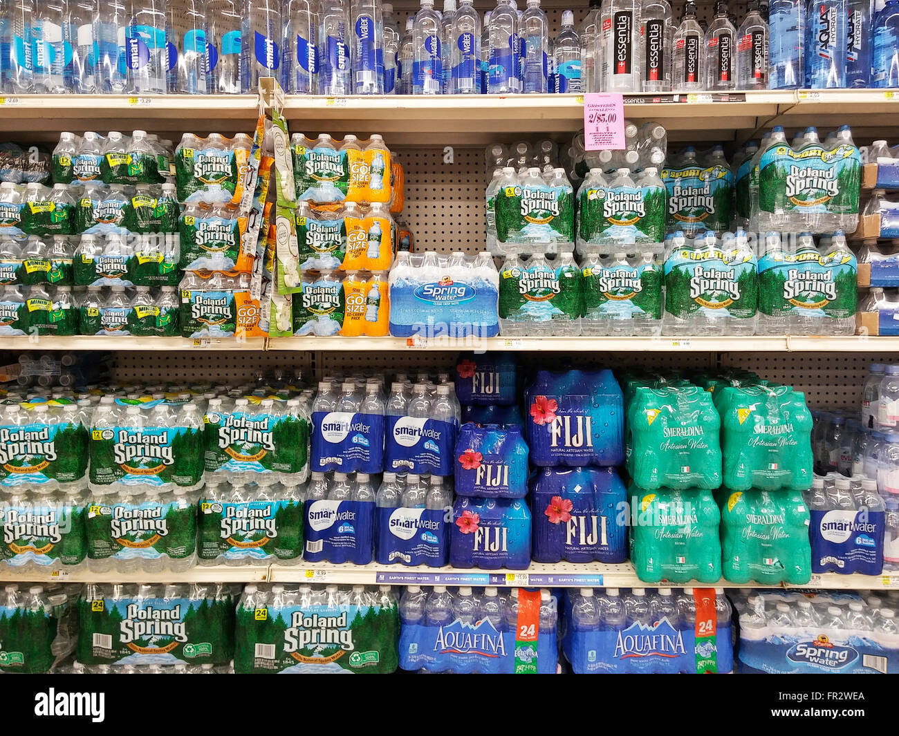 A display of bottled water is seen in a supermarket in New York on Thursday, March 17, 2016. (© Richard B. - Stock Image