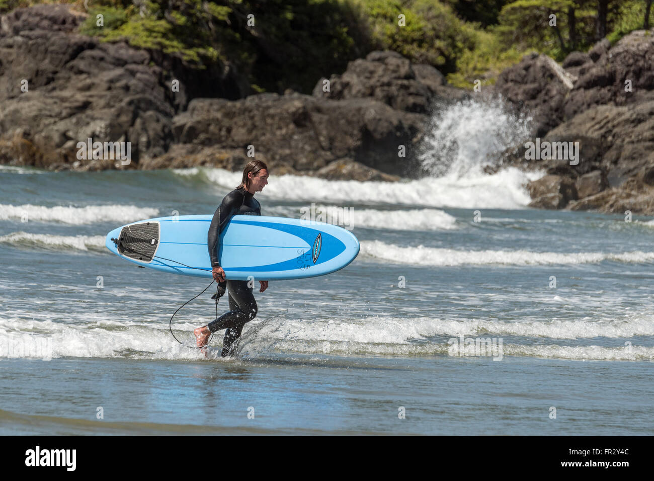 Gentle surf, North Chesterman beach, Tofino, British Columbia - Stock Image