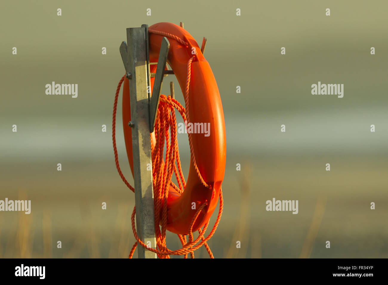 Life buoys, life rings safety equipment orange color - Stock Image