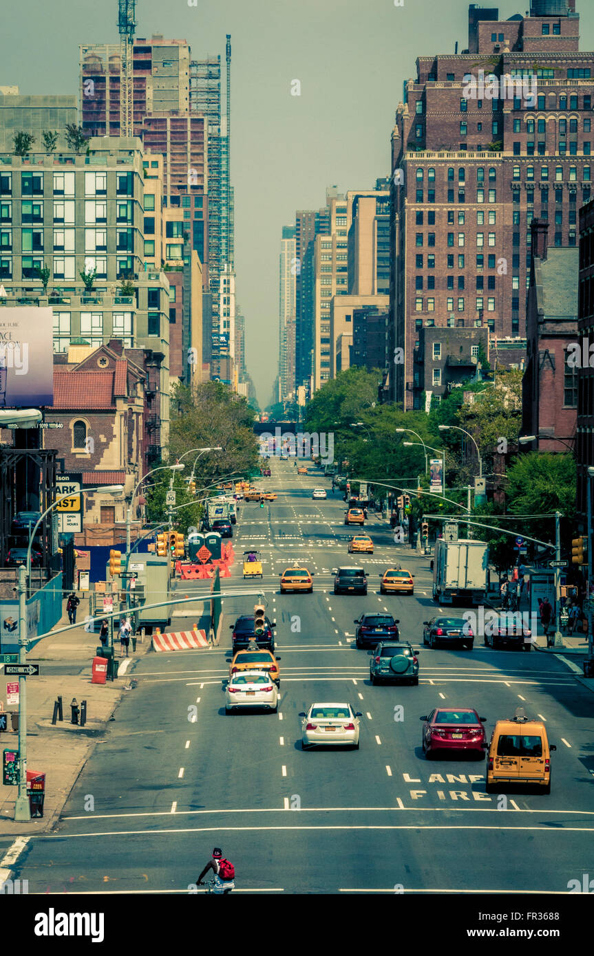Street with traffic, New York City, USA. - Stock Image