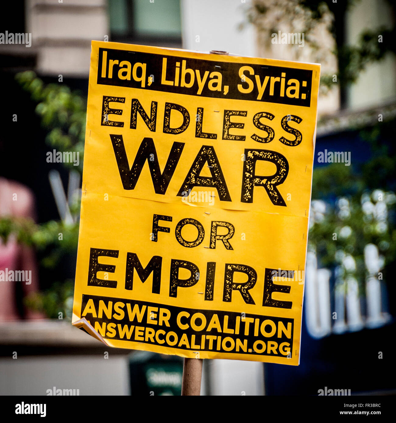 Protest sign, Endless War for Empire. Anti war. New York City, USA. - Stock Image