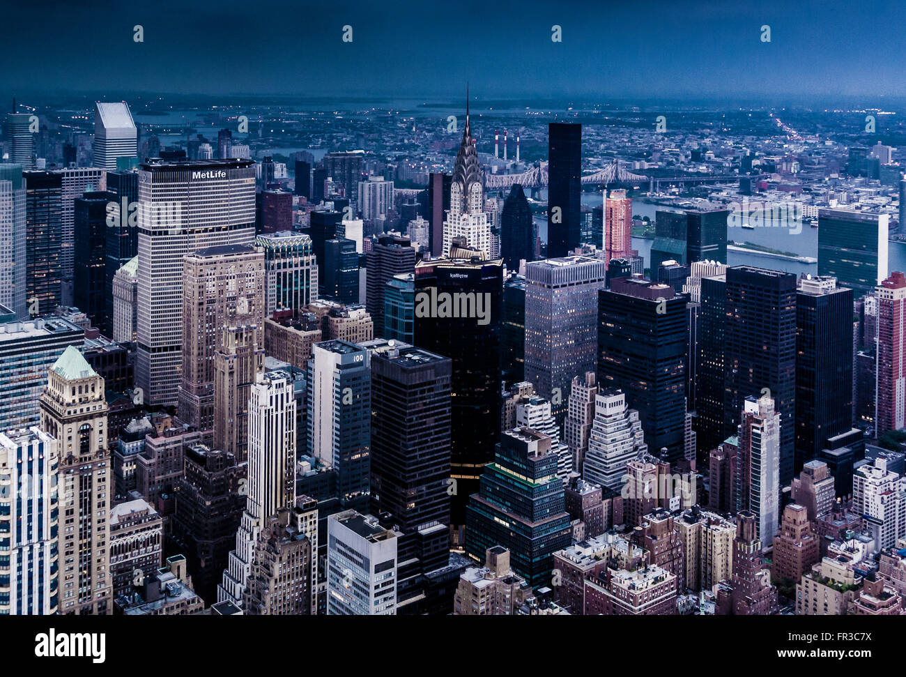 View from the Empire State Building looking North East with top of Chrysler Building visible, New York city, USA - Stock Image