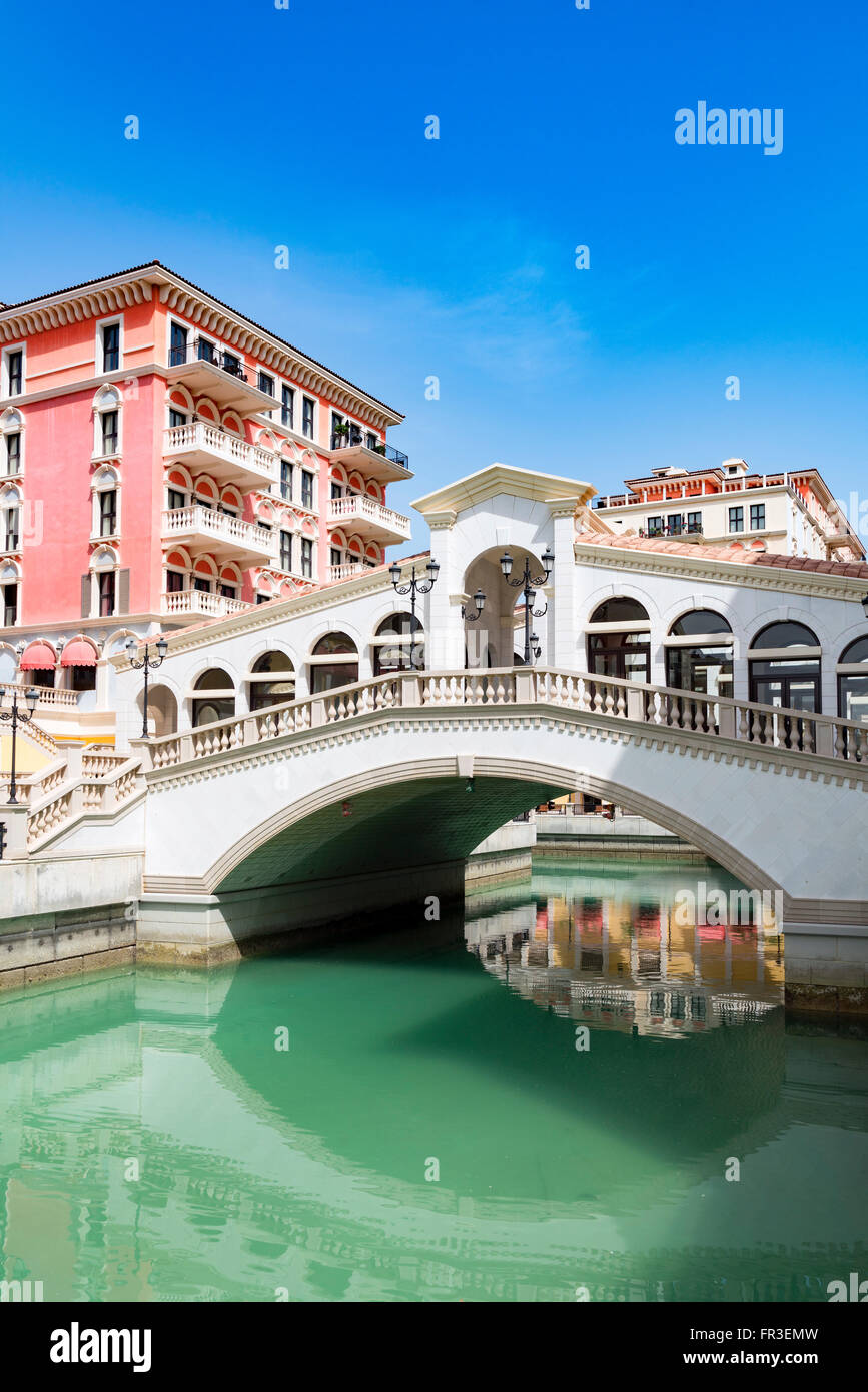 New Qanat Quartier residential property development with reproduction Italian styled architecture and canals at - Stock Image