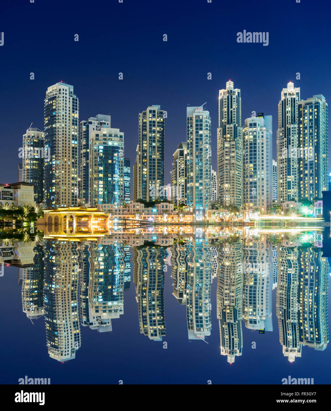 Night View Of Many High-rise Luxury Apartment Towers In