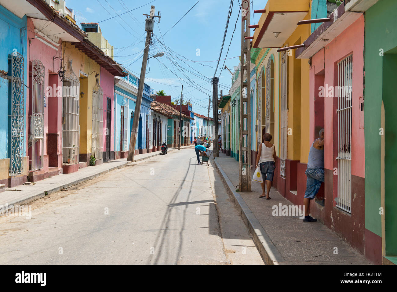 A street in the colorful old colonial town of Trinidad, Cuba. - Stock Image