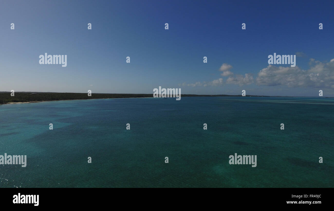 Drone picture of the ocean in the Bahamas - Stock Image