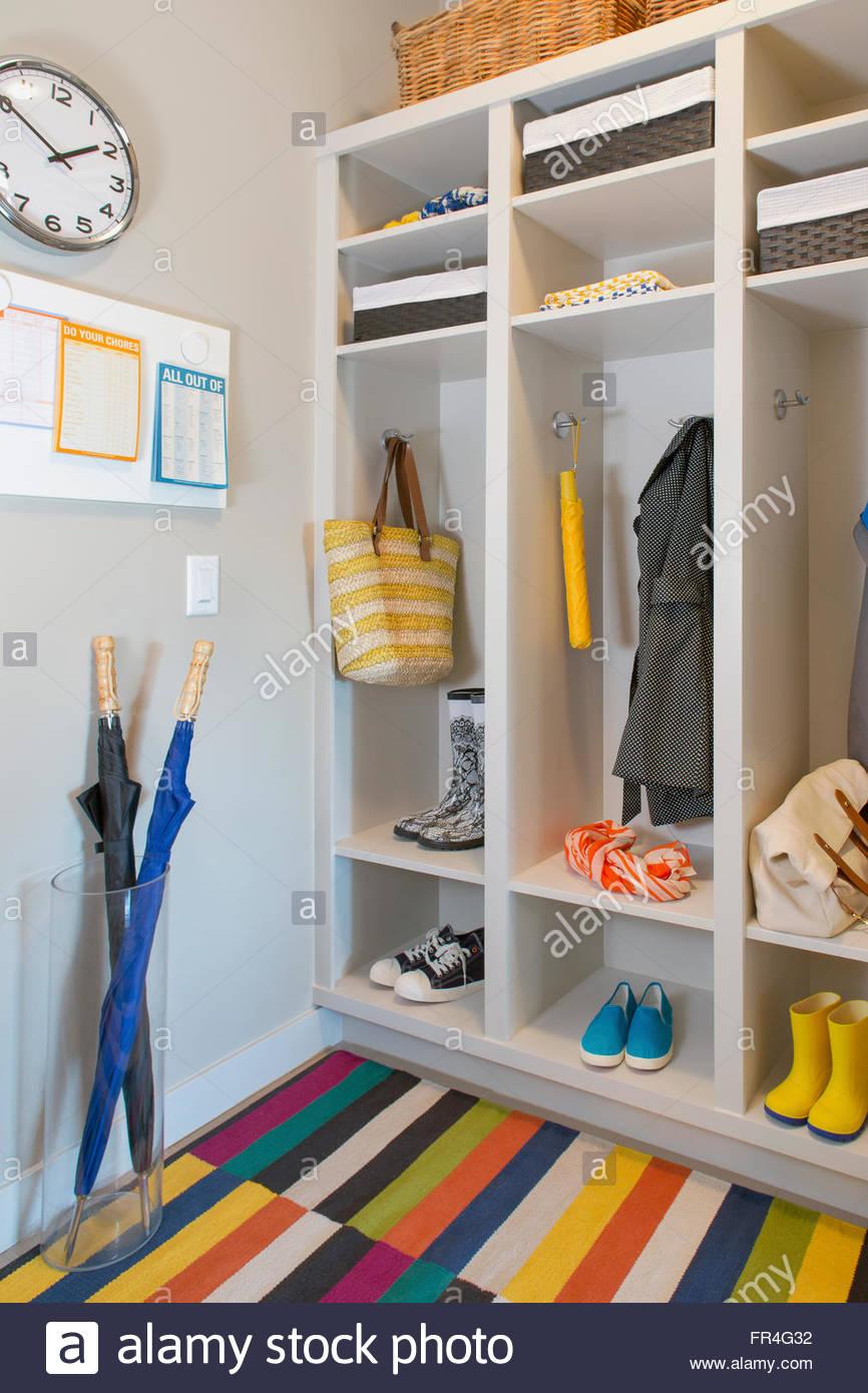 Modern mud room with plenty of storage. - Stock Image