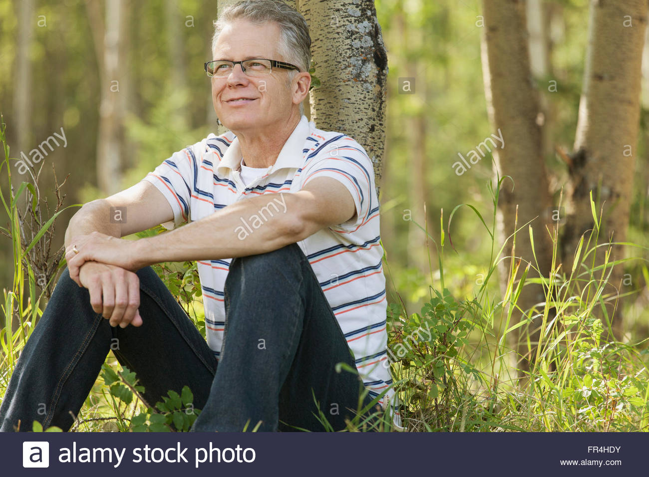 middle-aged man day-dreaming as he relaxes by trees - Stock Image