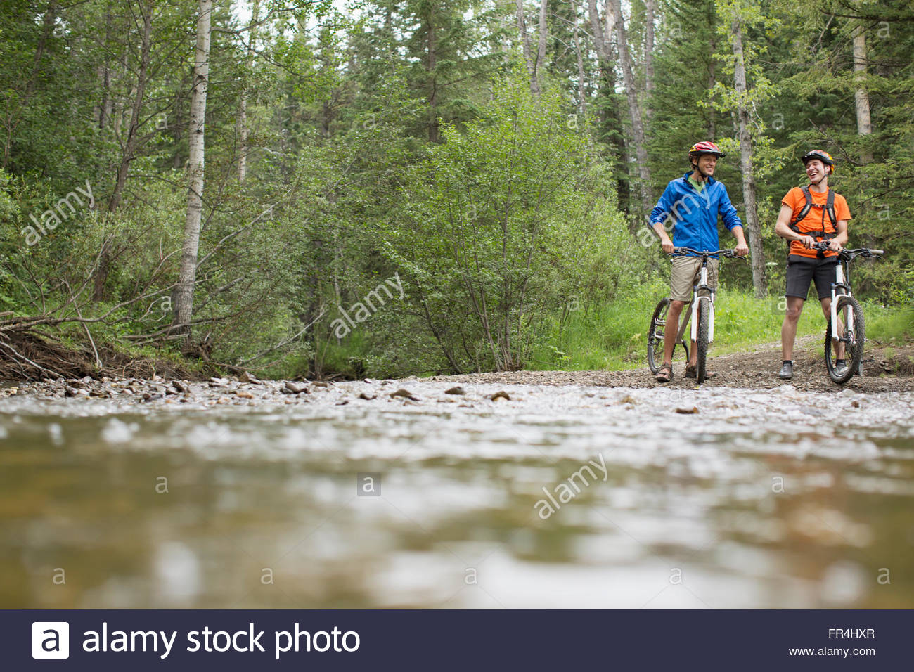 two male mountain bikers pauding by a stream in the woods - Stock Image