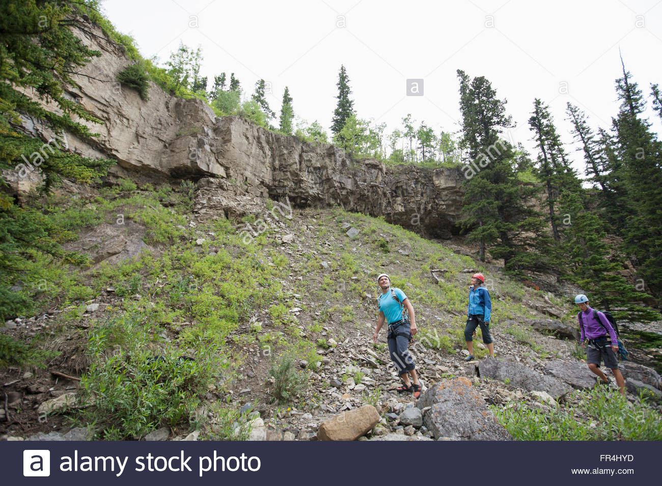 three rock climbers scouting out area to climb - Stock Image