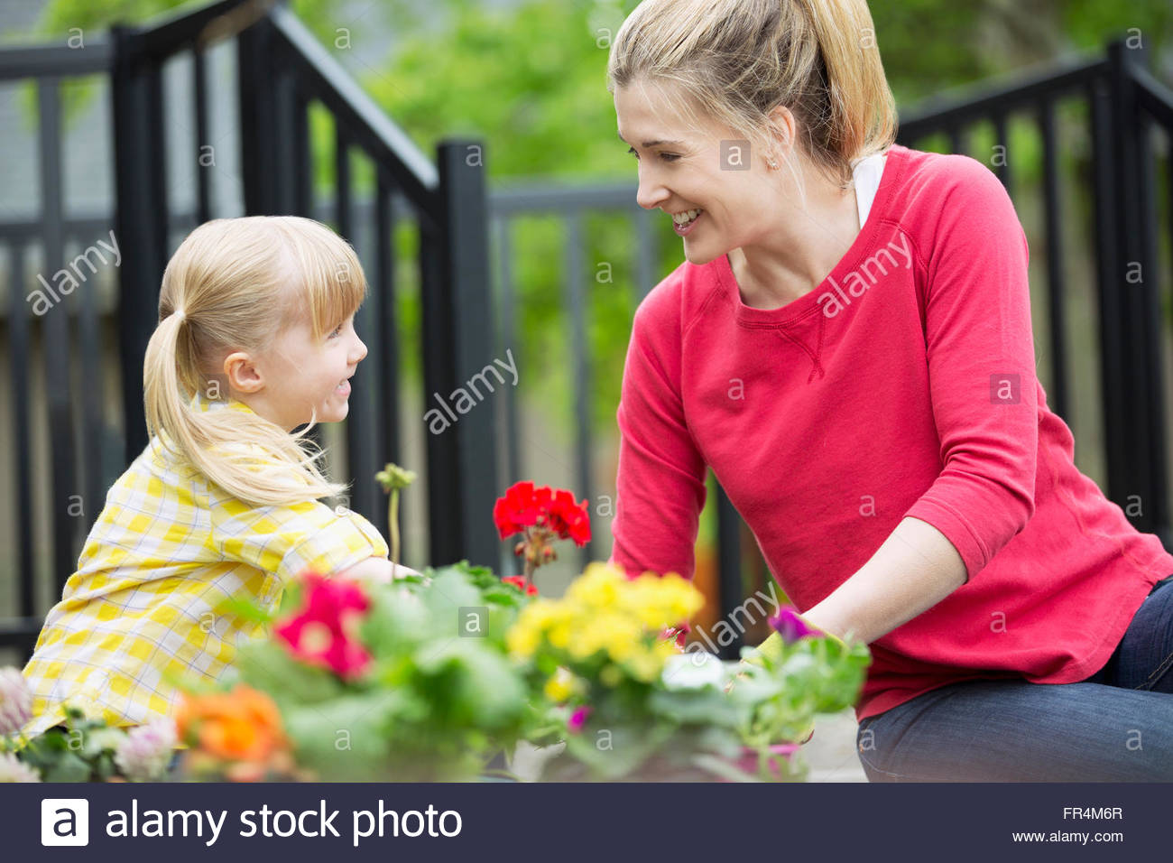 mom and 5 year old daughter planting flower bed - Stock Image