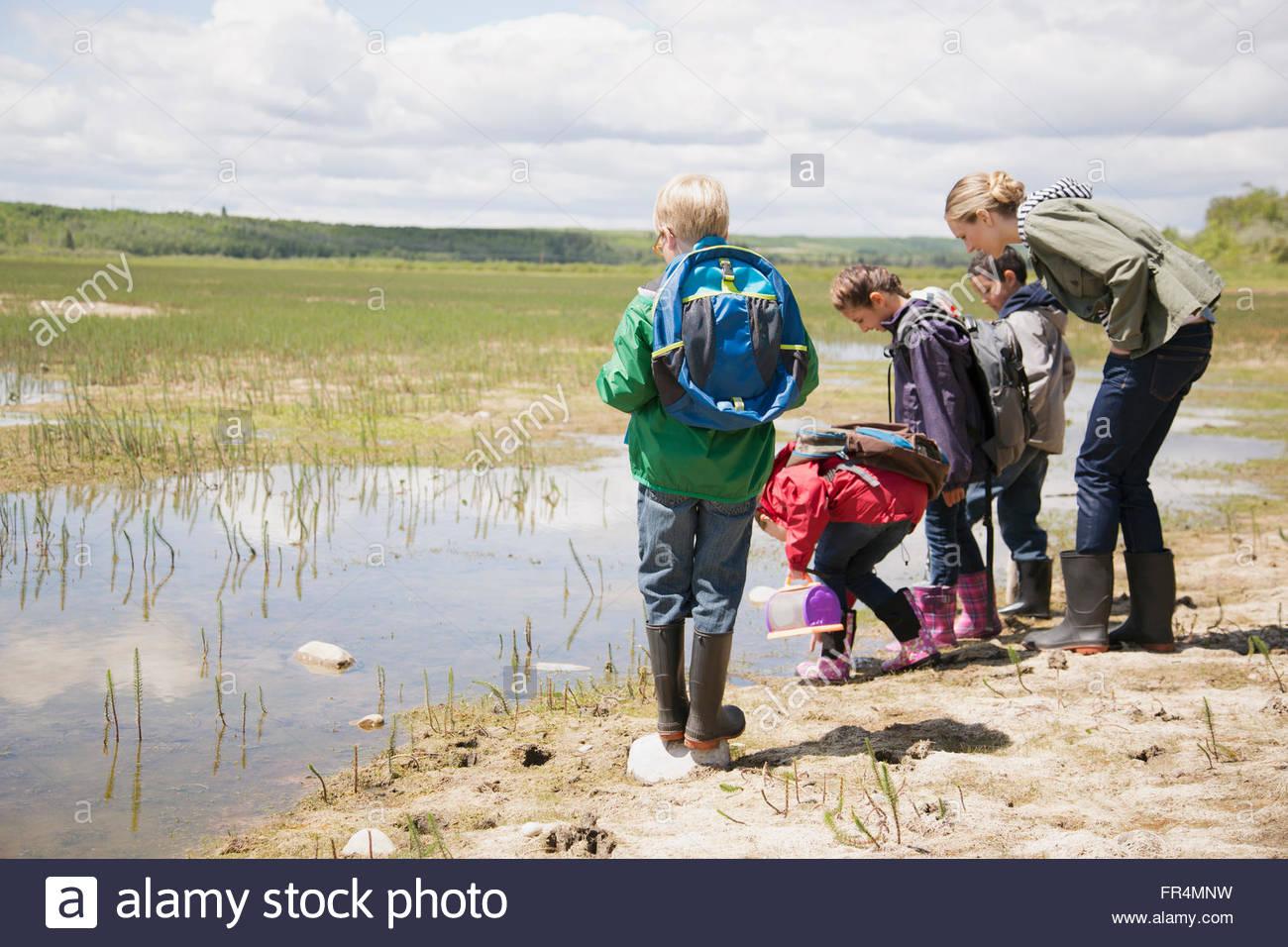 elementary school children on a field trip Stock Photo