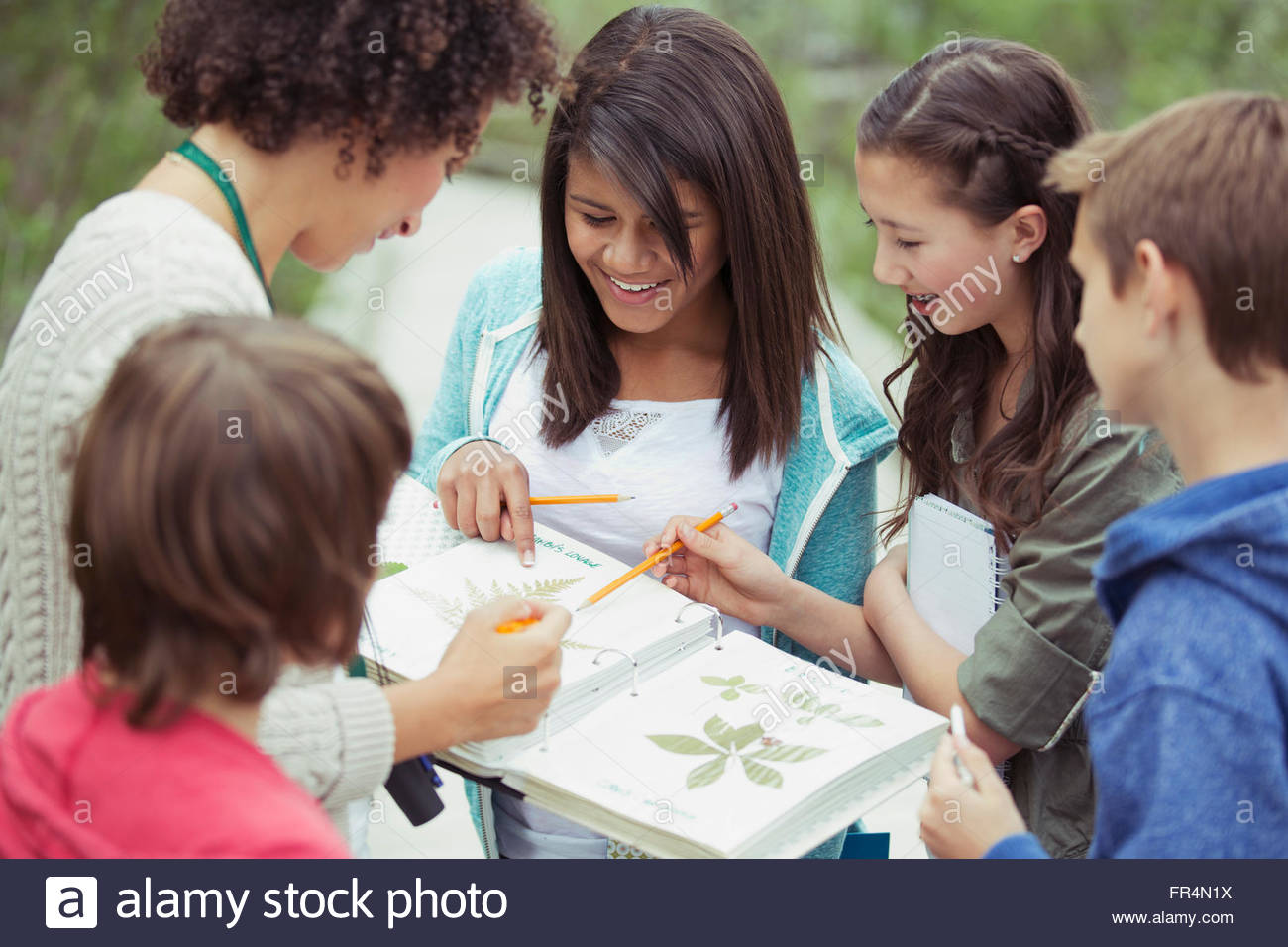 students and teacher identifying plants - Stock Image