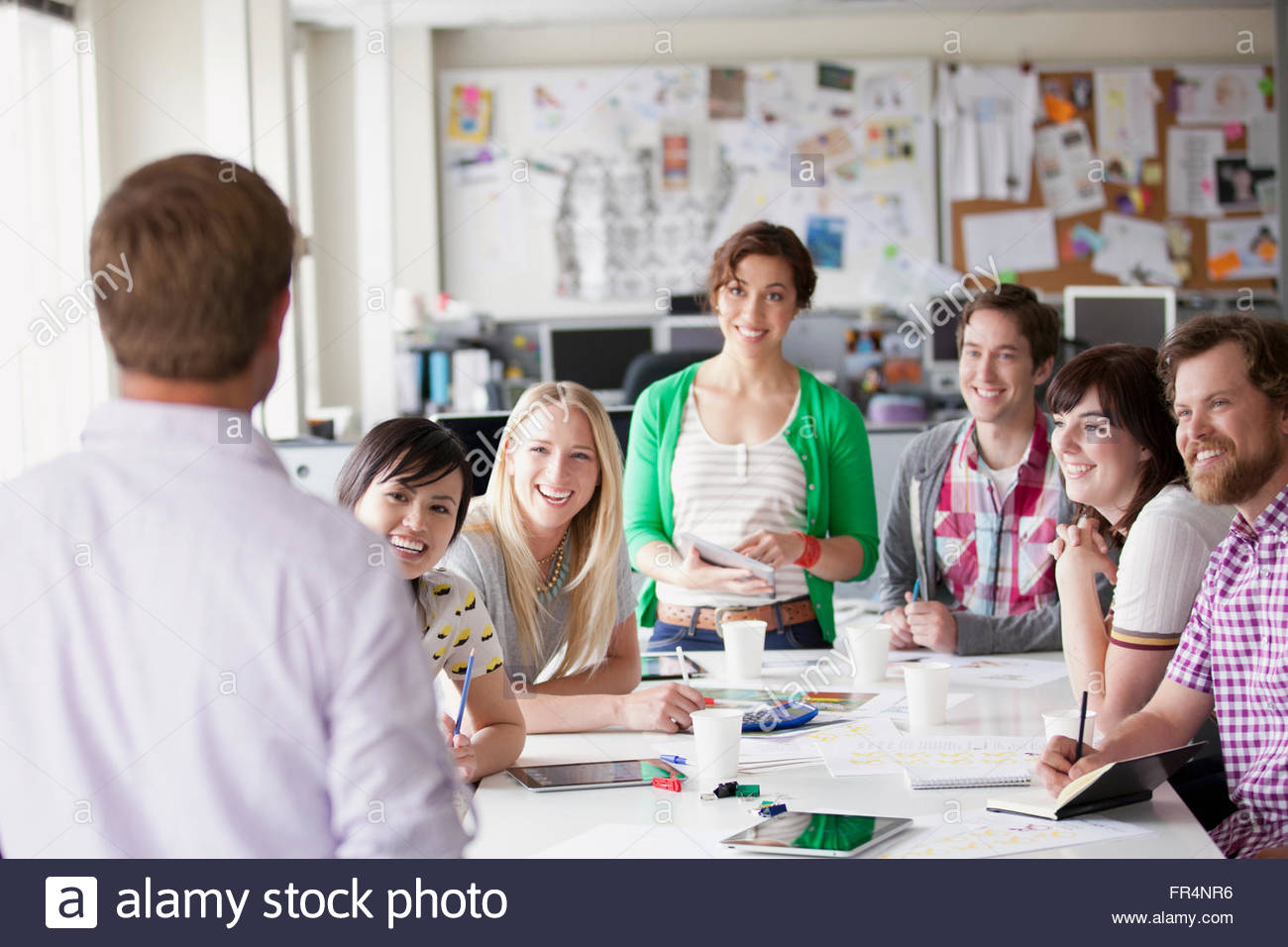 young creatives in a brainstorming session - Stock Image