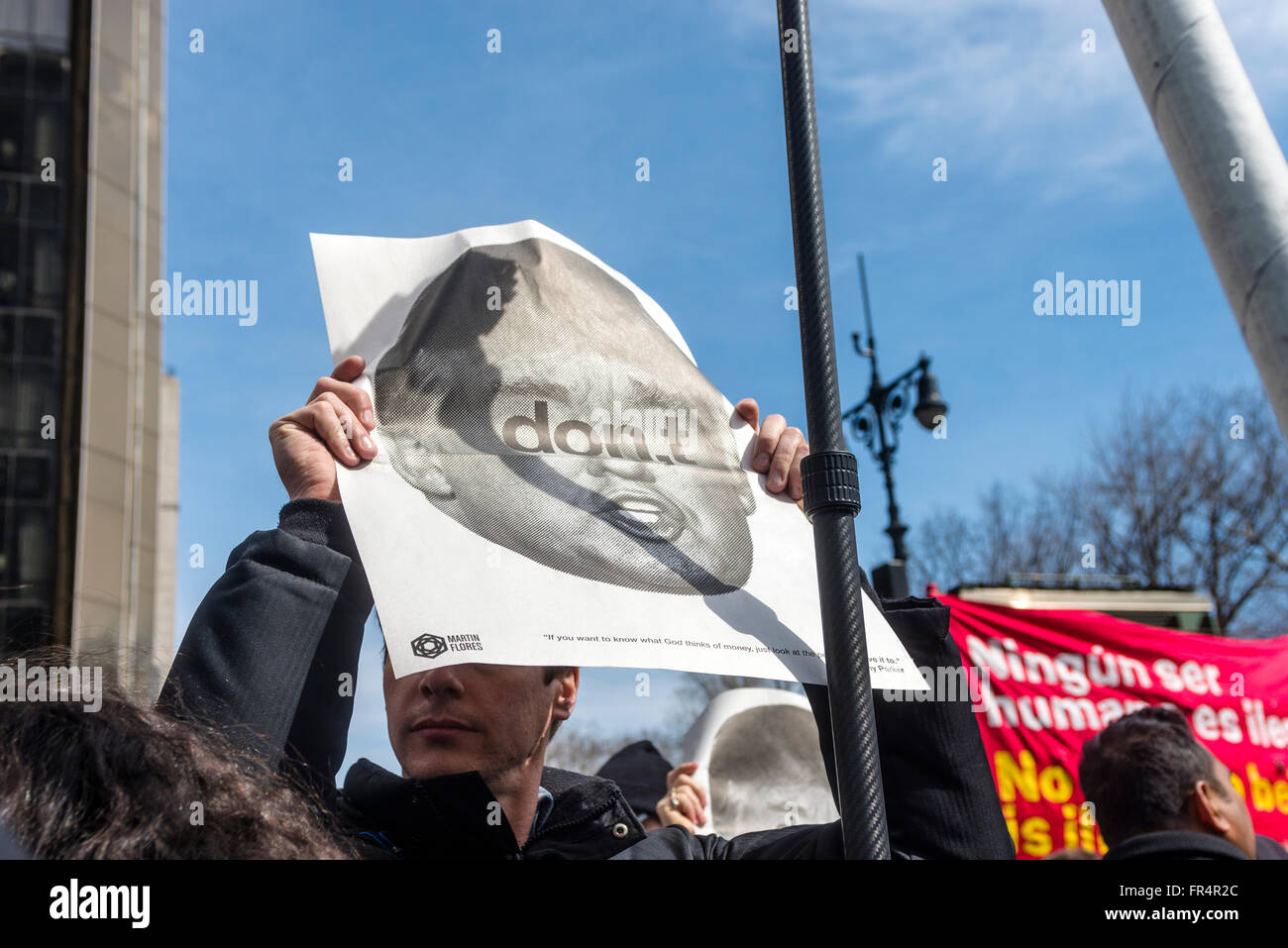 New York, NY - 19 March 2016 - A couple thousand protesters gathered outside Trump International Hotel and Tower, - Stock Image
