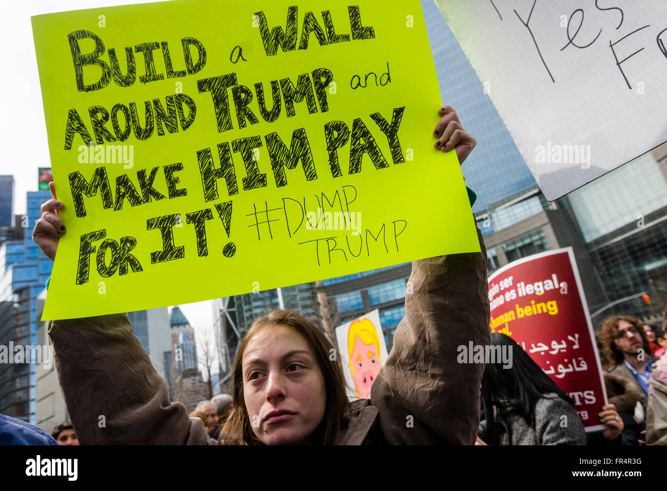 New York, NY - 19 March 2016 - A couple thousand protesters gathered outside Trump International Hotel and Tower, Stock Photo