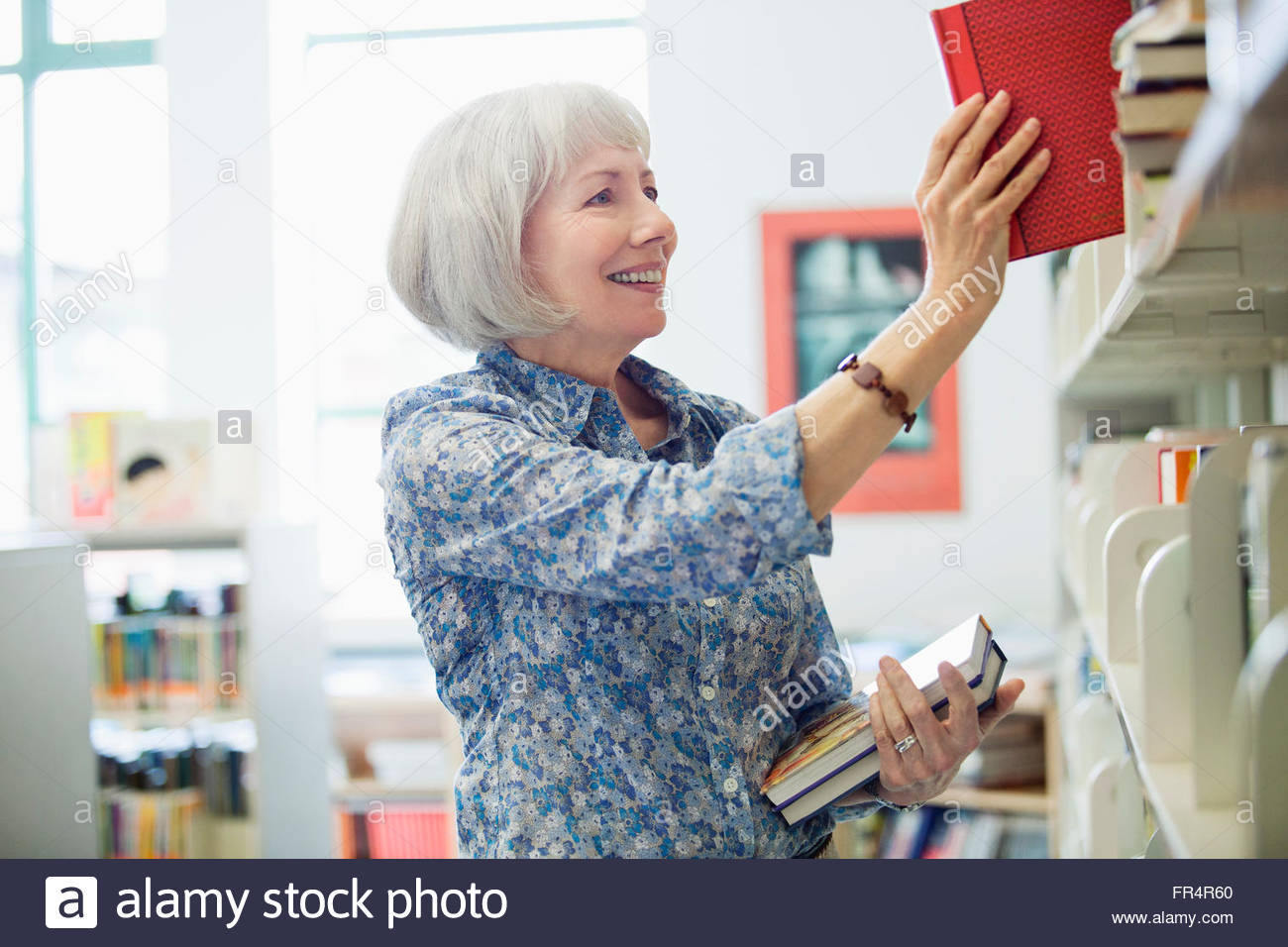 teacher returning books to shelf - Stock Image