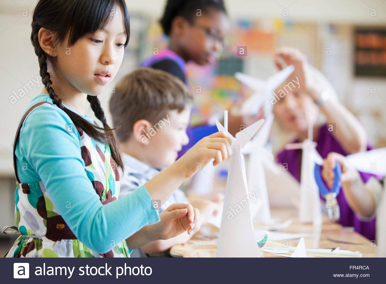 elementary class creating wind turbine models - Stock Image