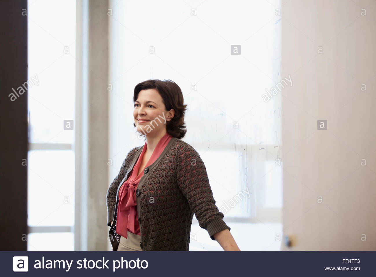 college instructor teaching mathematics - Stock Image