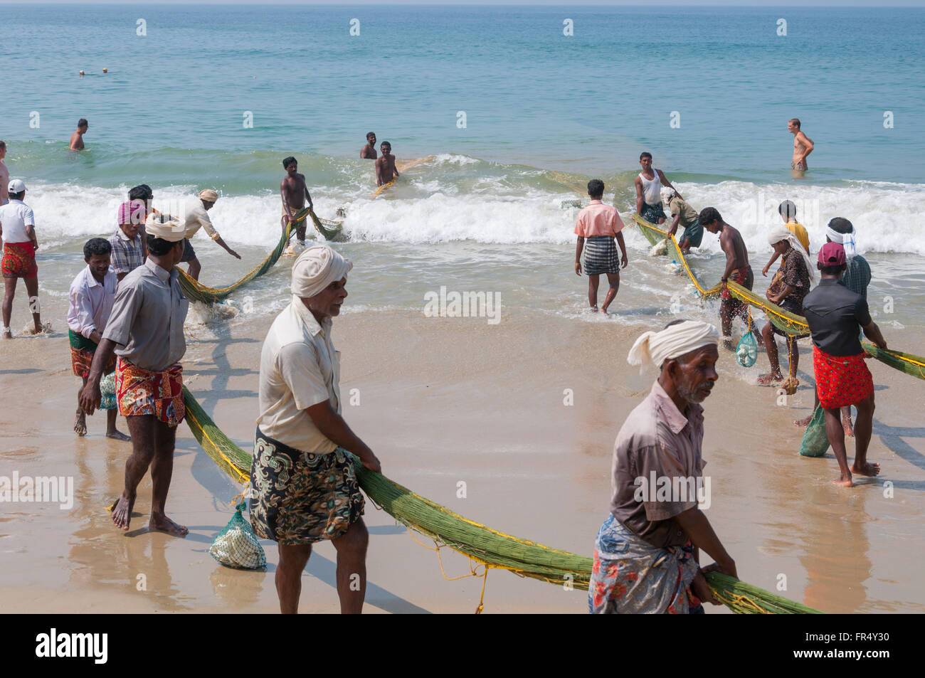 Seine-haul fishing of Kerala - Stock Image