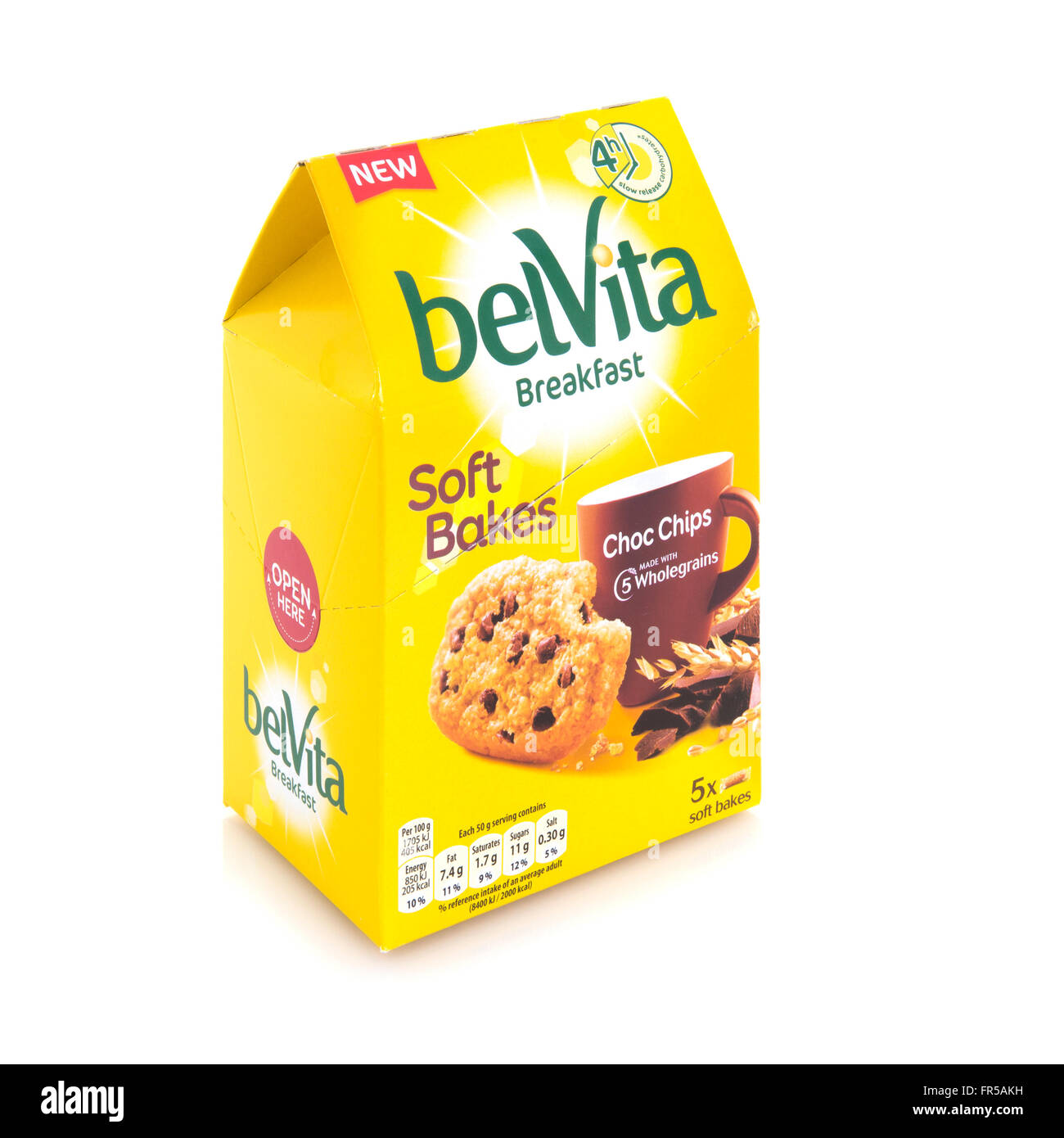 Belvita Soft Bakes Breakfast with Choc Chips and wholegrains on a white background - Stock Image
