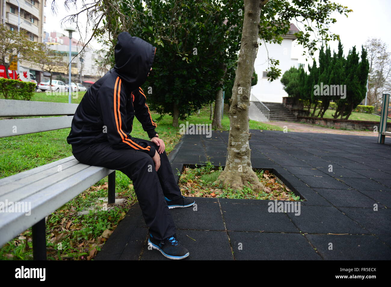 Alone in the park - Stock Image