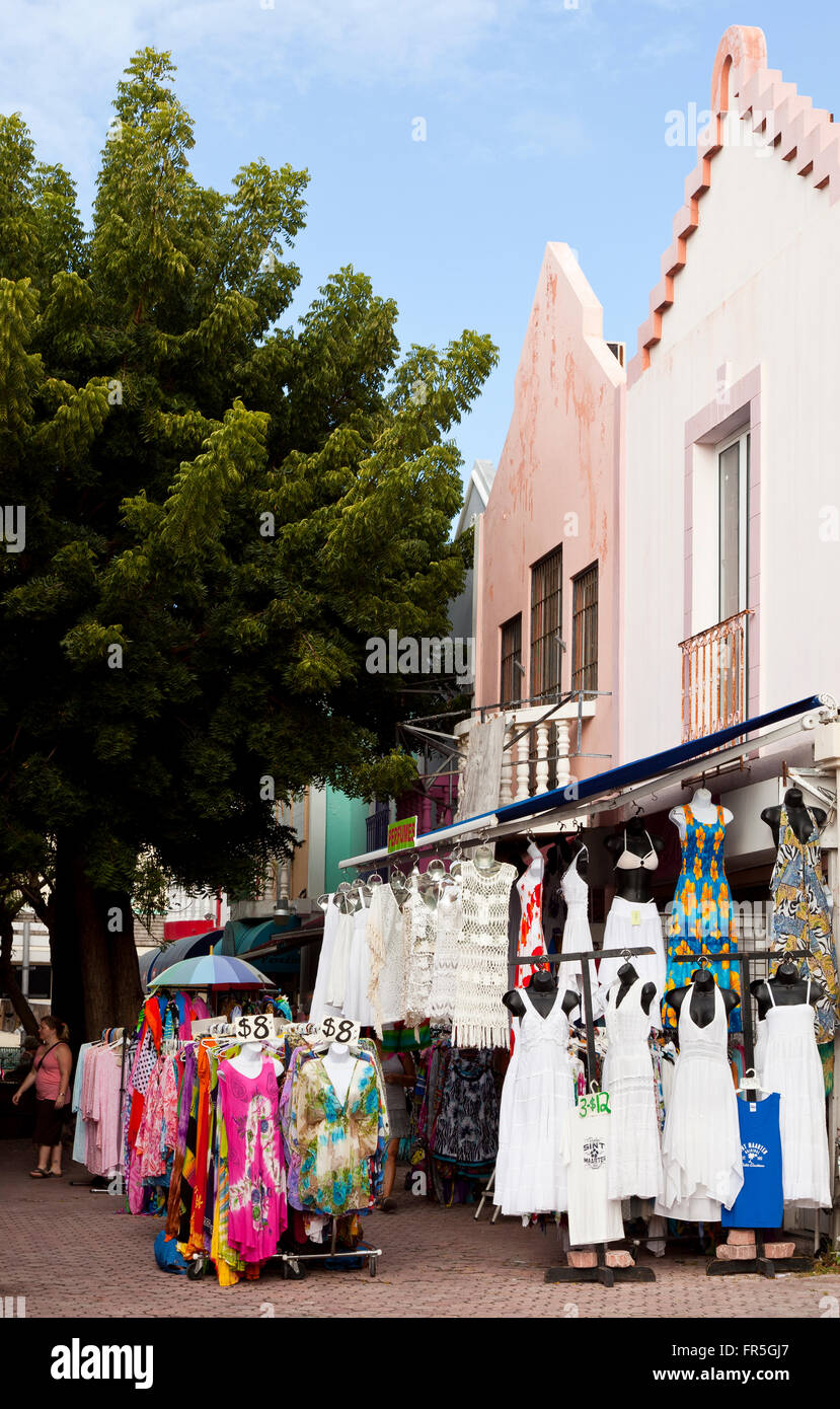 A typical shop in a market in Philipsburg at St Martin in the Caribbean - Stock Image