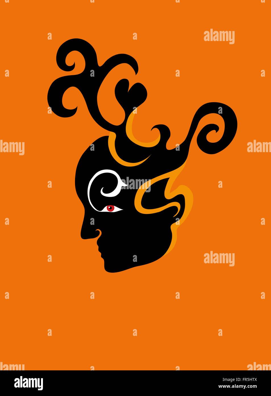 Male demon thinking. - Stock Image