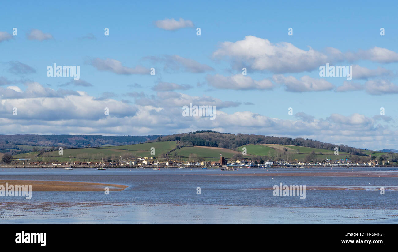 The River Exe Estuary viewed across to Starcross from Exmouth, East Devon, England, UK - Stock Image