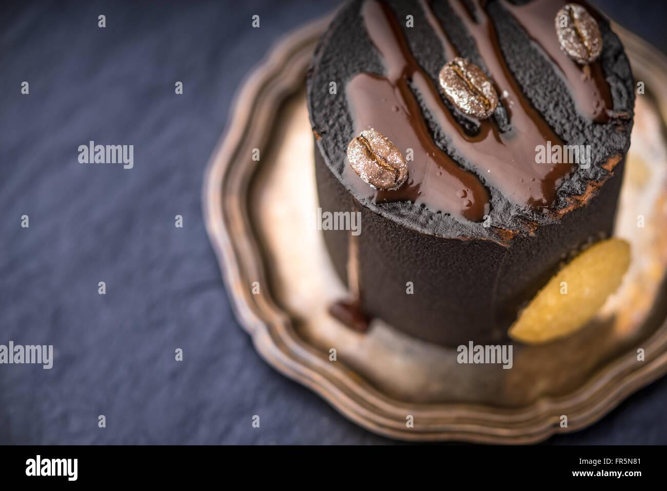 Chocolate mousse on vintage plate horizontal - Stock Image