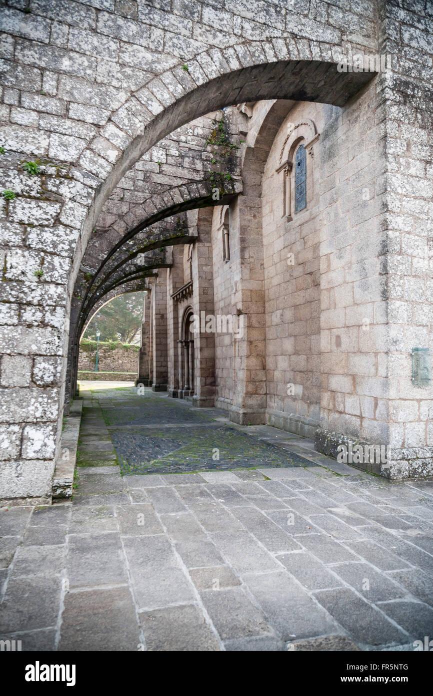 Colegiata Santa María a Real do Sar. Romanesque style century XII. Santiago de Compostela. - Stock Image