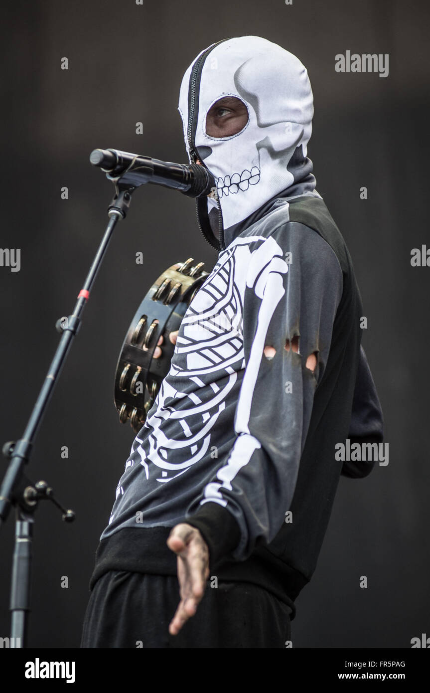 Santiago, Chile. 20th Mar, 2016. Tyler Joseph, vocalist of the U.S. duo 'Twenty One Pilots' performs during - Stock Image
