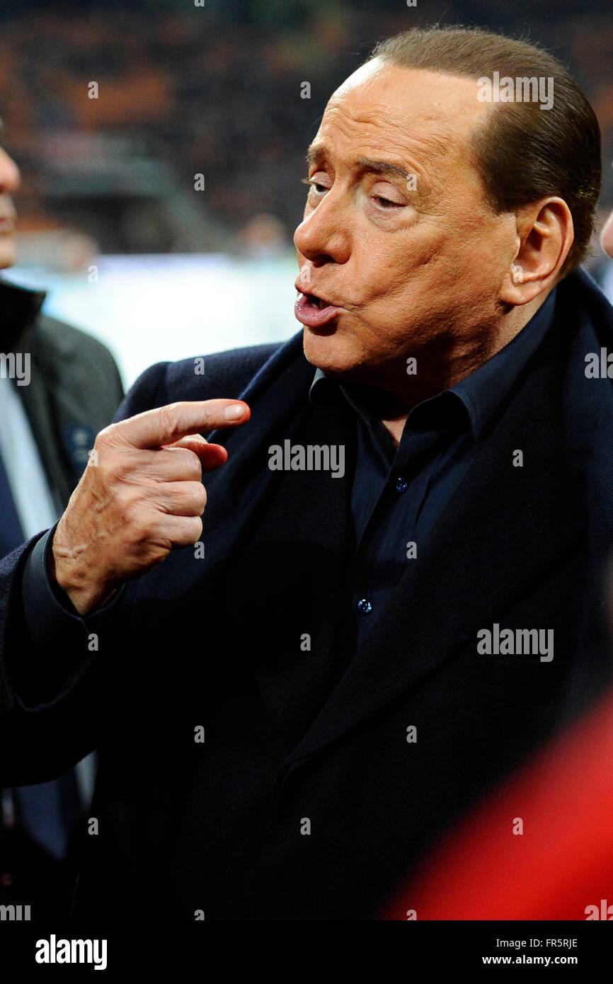 Silvio Berlusconi Milano 20-03-2016 Stadio Giuseppe Meazza - Football Calcio Serie A Milan - Lazio. Foto Giuseppe Stock Photo