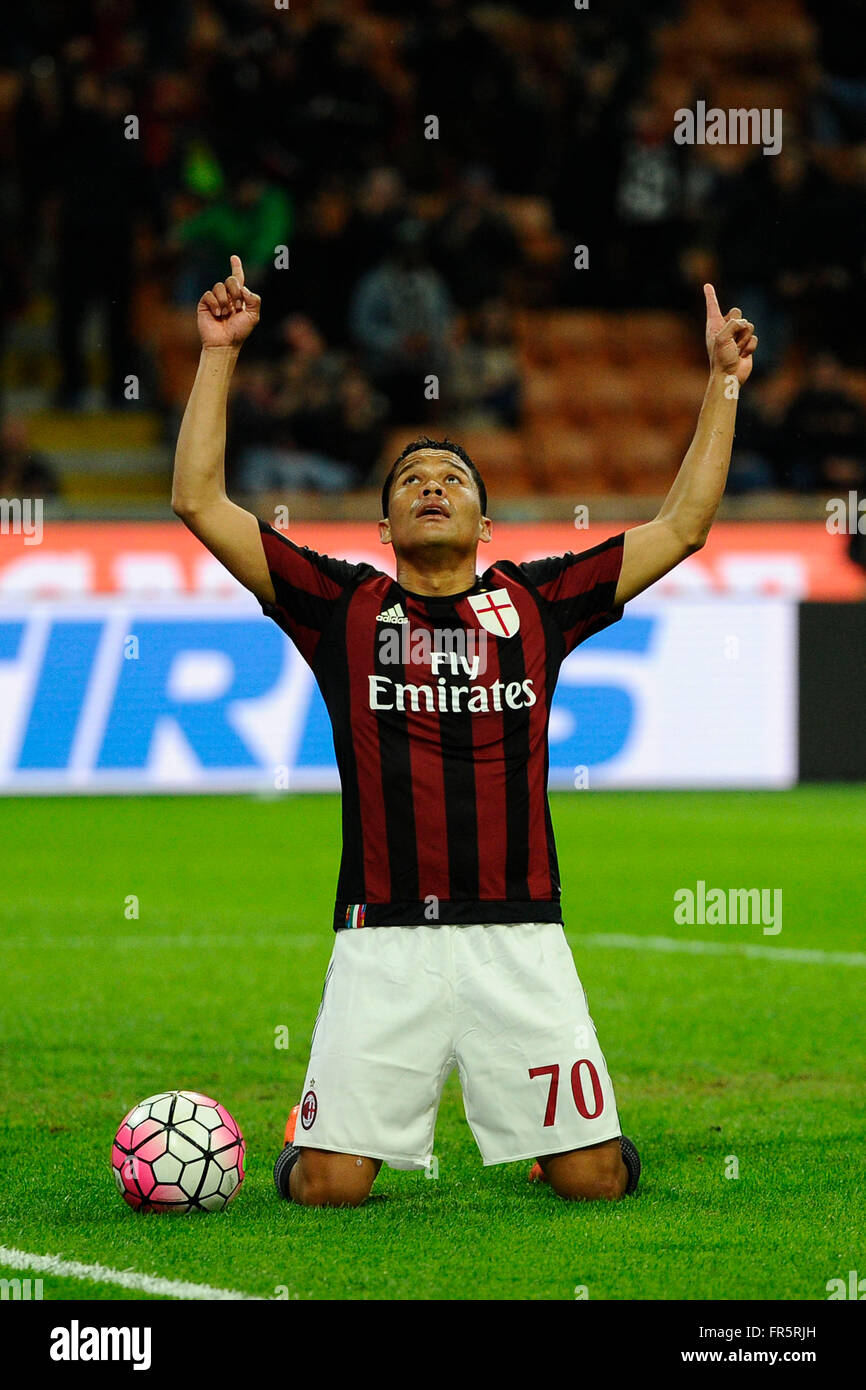 Carlos Bacca of Milan celebrates scoring draw 1-1  Milano 20-03-2016 Stadio Giuseppe Meazza - Football Calcio Serie - Stock Image