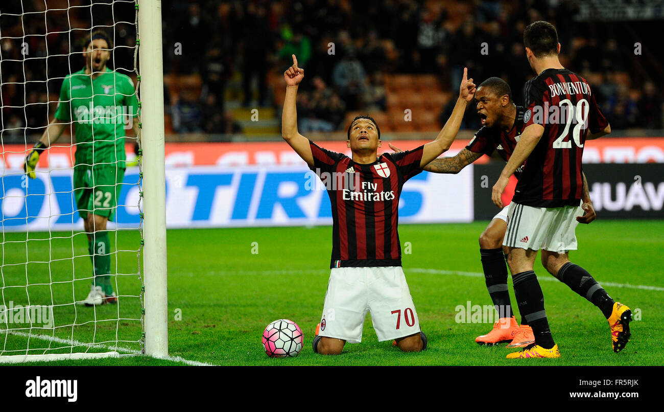 Carlos Bacca of Milan celebrates scoring draw 1-1 with Luiz Adriano and Andrea Bonaventura  Milano 20-03-2016 Stadio - Stock Image