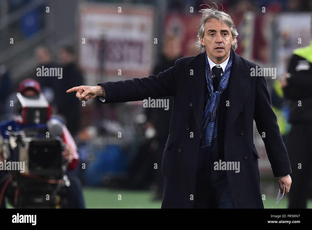 Roberto Mancini Inter coach  Roma 19-03-2016  Stadio Olimpico Campionato Serie A, AS Roma -Inter Foto Antonietta - Stock Image