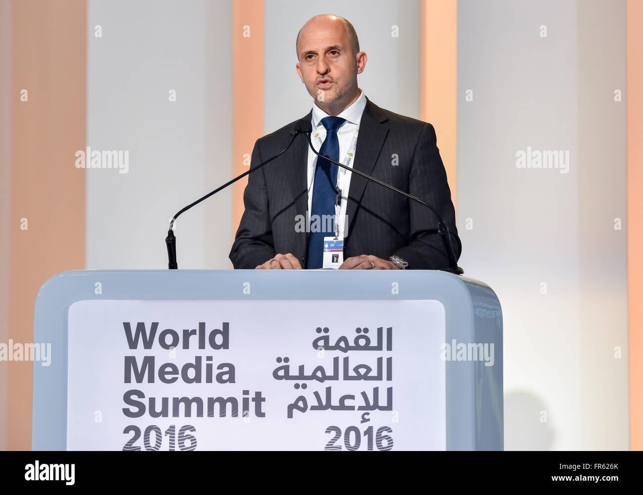 Doha, Qatar. 21st Mar, 2016. Arafat Shoukri, Manager of the Executive Committee of the World Media Summit Doha, - Stock Image